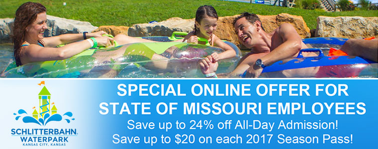Schlitterbahn Waterpark - Kansas City | Special Online Offer for State of Missouri Employees - Save up to 24% off All-Day Admissions! Save up to $20 on each 2017 Season Pass!