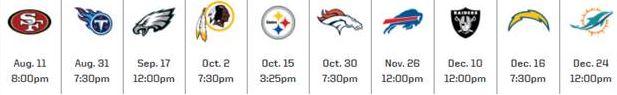 Chiefs schedule