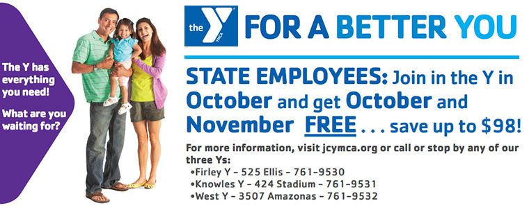 YMCA Discount: State Employees join in October and get October AND November for Free!