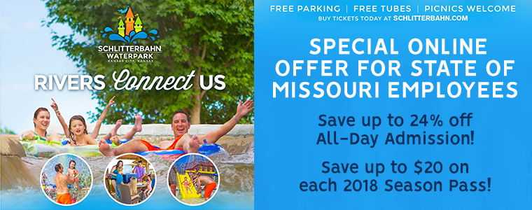 Schlitterbahn WaterPark Special online offer for state of Missouri Employees | Save up to 24% off all-day admission and save up to $20 each 2018 season pass!