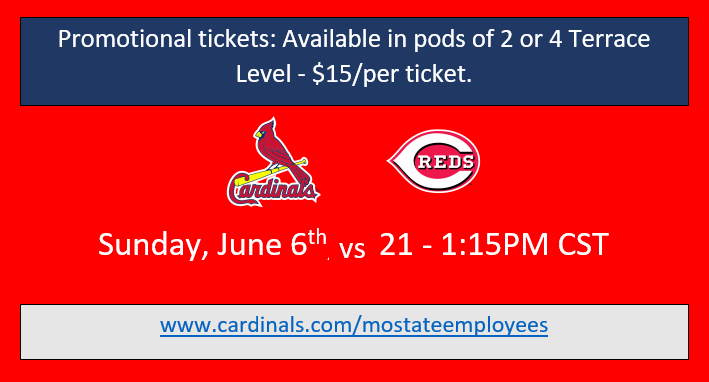 Cardinals June 6, 2021 Promotional tickets